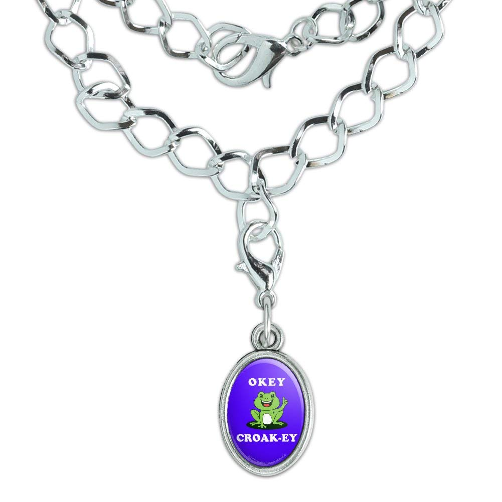 GRAPHICS /& MORE Okey Croak-ey Dokey Frog Funny Humor Silver Plated Bracelet with Antiqued Oval Charm
