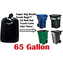 65 Gallon Super Big Mouth Trash Bags 30-Pack Plus 3 Free Rubber Tie Down Bands