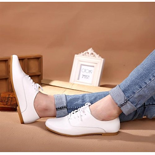 Lace Oxfords Shoes White T Comfy JULY up Heel Low Fashion Casual Toe Round Shoes Women's Flats O1OqCHwfY