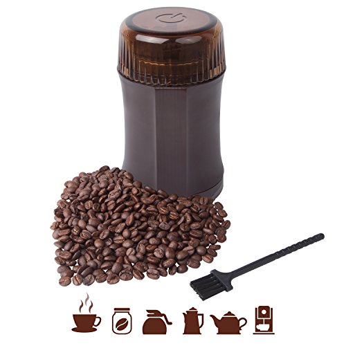 Coffee Grinder AmoVee Electric Grinder with 304 Stainless Steel Blades for Coffee Beans, Spice, Nuts, Herbs, Pepper and Grains, 200W, Cleaning Brush Included