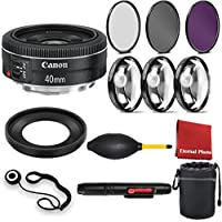 Canon EF 40mm f/2.8 STM Lens. With 3 Piece Filter Kit, Blower, Lens Hood, Lens Pen, Case, Cleaning Cloth, 3 Piece Macro Closeup Kit