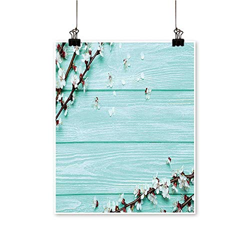 Single paintingCherry Blossom Petals Branch on Rustic Wooden Planks Seasonal Picture White Brown Seafoam Office Decorations,20
