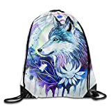 Cheap Jimres Printing Wolf Drawstring Bags Portable Backpack Pocket Bag Travel Sport Gym Bag Yoga Runner Daypack