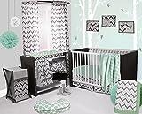 Bacati Ikat Mint/grey Dots/stripes 4 Crib Set with 2 Muslin Blankets