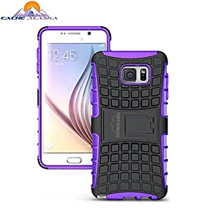 Note 5 Case Kickstand Feature - Fits Samsung Galaxy Note5 - Tempered Glass Screen Protector provides Rugged Protection - anti-scratch technology - by CacheAlaska - Purple