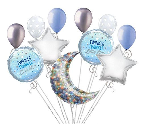 11 pc Twinkle Little Star Baby Boy Balloon Bouquet Party Decoration Shower Blue