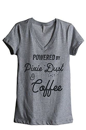Thread Tank Powered by Pixie Dust and Coffee Women's Relaxed V-Neck T-Shirt Tee Heather Grey 2X-Large