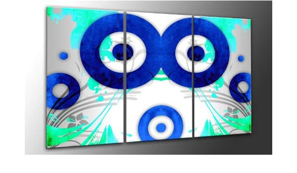 Top imagen sobre lienzo MODERN Blue Circle 3 piezas Digital ...