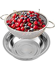 【Upgrade】Kitchen Collapsible Colander Set Space-Saving BPA Free Silicone Foldable Food Strainer for Draining Pasta, Vegetable and Fruit