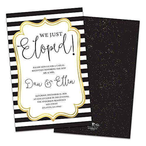 (Black Striped Golden Frame Personalized Wedding Reception Invitations)