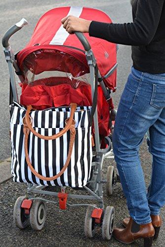 �?OFERTA DE LANZAMIENTO�?Bolsos para cambiar el bebé Black w / Changing Mat Mejor calidad Diseñador Pañales Bolsa para las niñas Niños gemelos, ducha Regalos para mamá papá