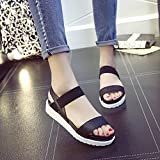 Hemlock Ladies Sandals Shoes Girl's Summer Flat Sandals (US:6, Black)