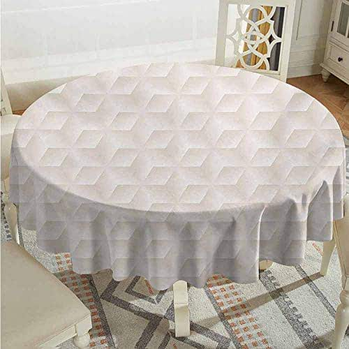 XXANS Tablecloth,Ivory,Geometric Continuous Diagonal Diamond Shaped Abstract Monochrome Digital Stylish Pattern,High-end Durable Creative Home,60 INCH,Cream