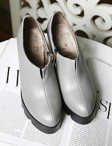 compensé gris Chaussons Femme Chaussons air synthétique pour fermé Bottes pour Chaussures Plein Talon Bottes en décontracté Citior Femme compensées Bout FHPwqAznx5