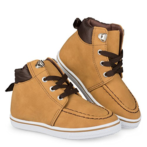 [C9106-TAN-7] Boys High Top Sneakers: Workboot Style Tennis Shoes, Moc Toe, Size 7