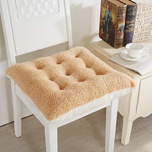 Winter Thicken Warm Lamb Cashmere Seat Cushion Soft Chair Office Bar P