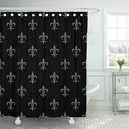 Emvency Shower Curtain Golden Fleur De Lis Black White Floral Elegant Royal Waterproof Polyester Fabric 72 x 72 Inches Set with Hooks