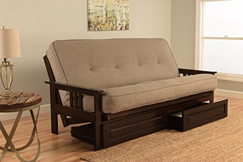 Kodiak Montreal X Espresso Futon Frame w/Quality 8 Inch Innerspring Mattress Sofa Bed Set Full Size (Stone Linen Matt, Frame and Drawer Set)