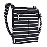 Travelon Anti-Theft Classic Light Mini Crossbody Bag (Black w/White Stripe)