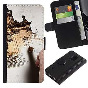 All Phone Most Case / Oferta Especial Cáscara Funda de cuero Monedero Cubierta de proteccion Caso / Wallet Case for Samsung Galaxy S5 V SM-G900 // Architecture Design House Painting Exterior