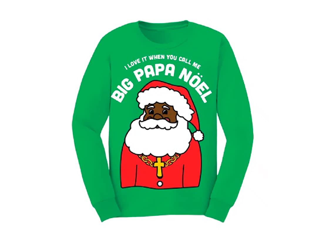 Life Clothing Big Papa Noel Green Fleece Ugly Christmas Sweater Sweatshirt