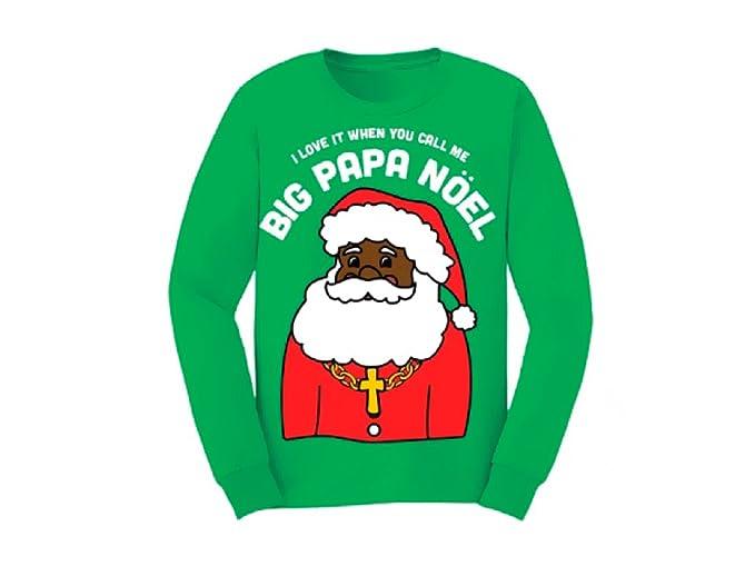 Amazoncom Big Papa Noel Green Fleece Ugly Christmas Sweater