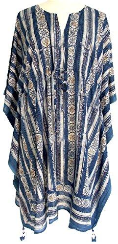 Rich Organic Indigo Floral Stripe Anokhi Hand Block Print Indian cotton Kaftan Tunic top One size