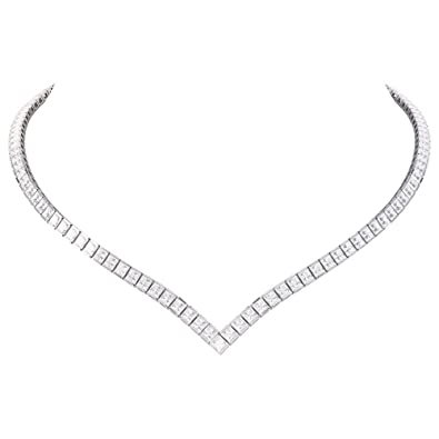 Princess Ruby and Diamond Silver Tennis Necklace (16IN to 19IN GOLD) DWy5H7ECjQ