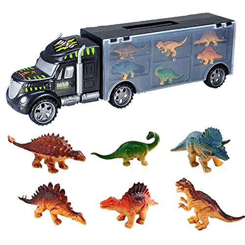 Fashion Dinosaur Truck Dinosaurs Transport Car Carrier Truck Toy with 6 Dinosaurs Toys ()