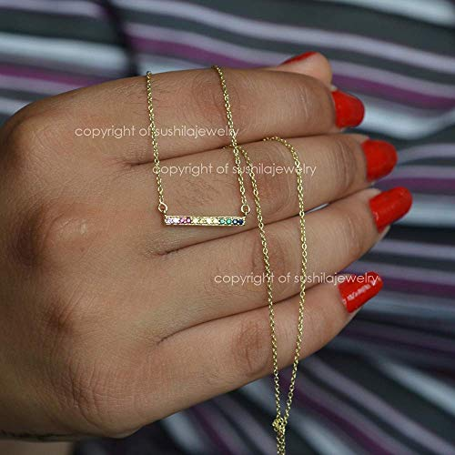 Rainbow Multi Sapphire Pendant Necklace Solid 14k Yellow Gold Handmade minimalist Jewelry Gift