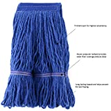 Tidy Monster Loop-End Cotton String Mop Head, Heavy Duty String Mop Refills, 6 Inch Headband, Mop Head Replacement for Home, Industrial and Commercial Use