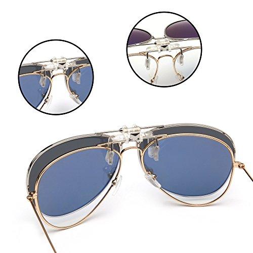 Aviador Lentes Plateado Gafas Retro de Clip Gris up Polarizadas Anteojos Flip Conducir Polarizado Hombre en Sol zwqSqAE