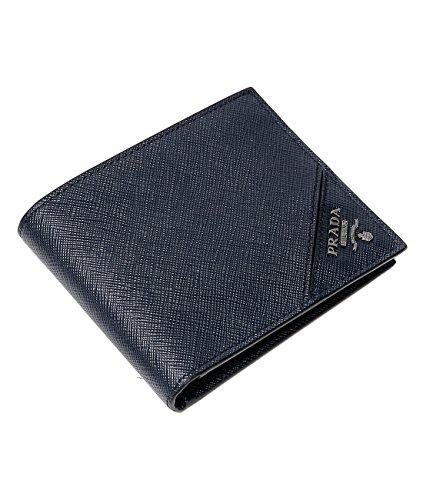 Wiberlux Prada Men's Metal Logo Billfold Real Leather Wallet