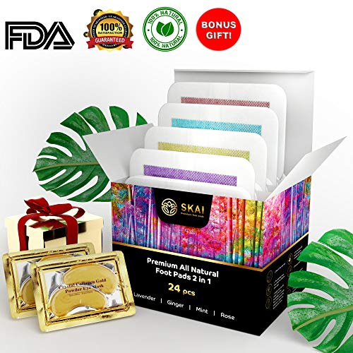 Premium Foot Pads 24 Pack  4 Aromas  100% All Natural Organic Body Cleansing Bamboo Vinegar Patches   Remove Stress, Pain, Sore Feet & Body Odor   Sleep Aid   FDA Certified   Gifts 2 Gold Eye Masks
