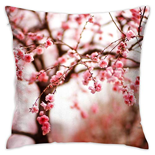 Pillow Covers Cherry Blossom Wallpaper Soft Standard 17.71 X 17.71 Inch Pillowcases Double Printed Cushion Covers Car Sofa Home Decor