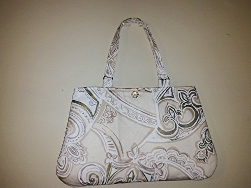 Sophisticated Satin Purse - Ivory and Gold Abstract Print Tote Bag Handbag Purse for Women