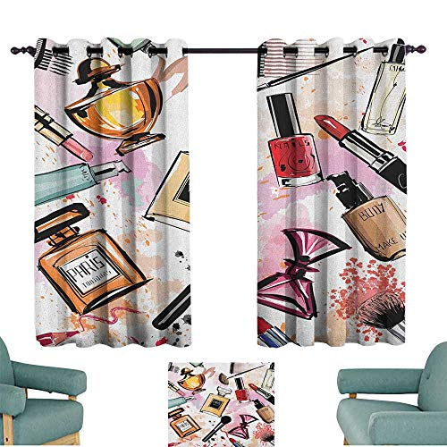 WinfreyDecor Girls Decorative CurtainsforLivingRoom Cosmetic and Makeup Theme Pattern with Perfume Lipstick Nail Polish Brush Modern Lady Noise Reducing 55