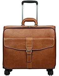 Leathario Leather Luggage travel duffle bag weekend overnight bag rolling suitcase