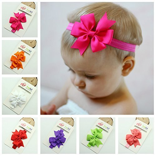 Price comparison product image OULII 15 Colors Cute Infant Baby Girls Sweet Bowknot Style Elastic Headbands Hair Bands Hair Accessories Photo Props