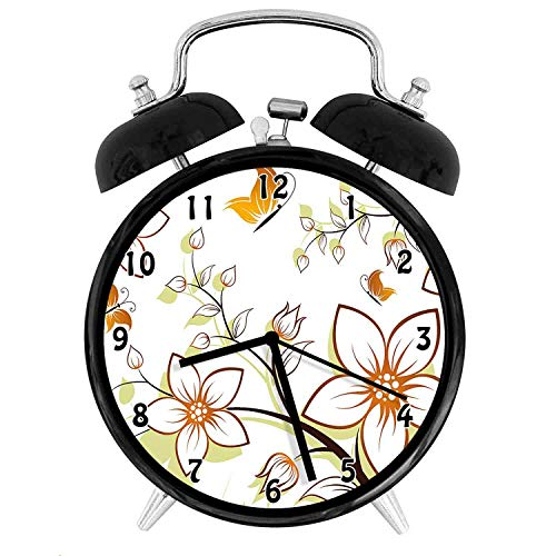 (22yiihannz Autumn Fauna in Fall Season Color Palette Flowers and Butterflies Warm,Battery Operated Quartz Ring Alarm Clock for Home,Office,Bedroom,Pale Green_4inch)