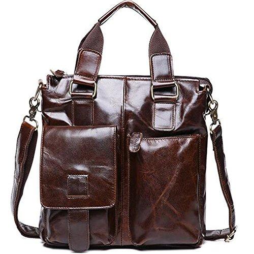 Gendi Mens Messenger brown Travel Traval Retro Business Leather Hiking Brown Bag Shoulder Casual Genuine Camping rBnrWwHqZ