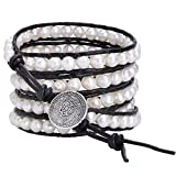 Aobei Long 5 Row Cultured Freshwater Pearls Wrap Around Bracelet Beaded Leather Jewelry