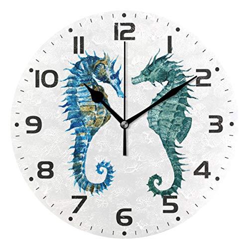 (Naanle Watercolor Blue Seahorse Marine Sea Life Animal On White Round/Square/Diamond Acrylic Wall Clock Oil Painting Home Office School Decorative Creative Dual Use Clock Art)