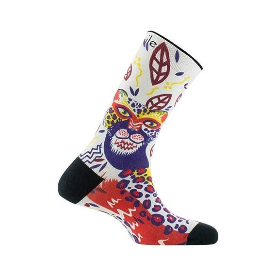 1255d21b831 Achile - Chaussettes imprimées motif Tigre en coton - couleur - Beige -  Pointure - 39-46  Amazon.fr  Vêtements et accessoires
