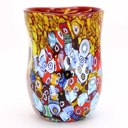 (GlassOfVenice Murano Drinking Glass - Red Millefiori)