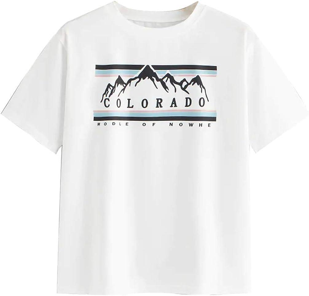 Anbech - Camiseta de Manga Corta para Mujer, diseño Vintage de montaña, Color Blanco - Blanco - Large: Amazon.es: Ropa y accesorios