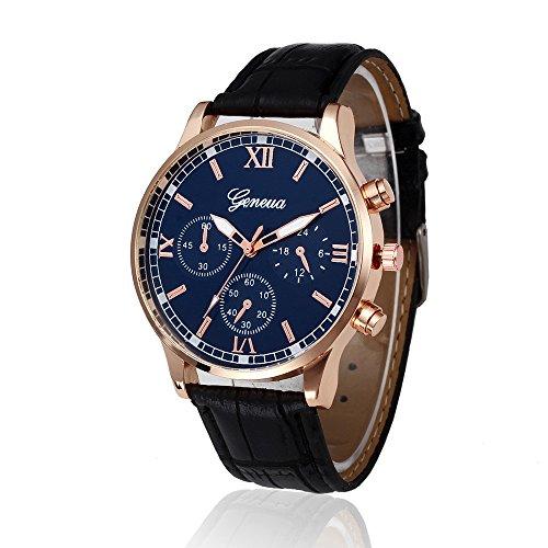 Bokeley Big Watch, Mens Watch, Retro Design Leather Band Quartz Wrist Watch Men Alloy Quartz Watch (Black)