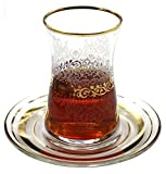 Estel Gold Turkish Tea Glasses with Saucers Set (Set of 6) 5 Ounce