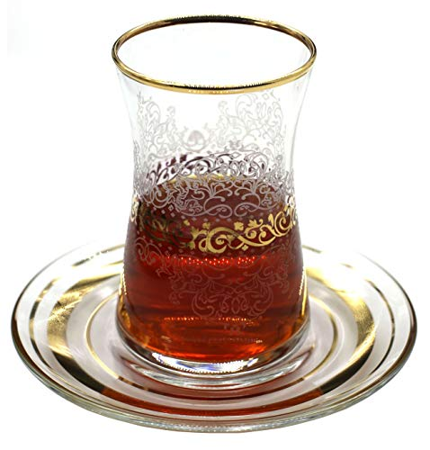 Estel Gold Turkish Tea Glasses with Saucers Set (Set of 6) 5 Ounce by ABKA