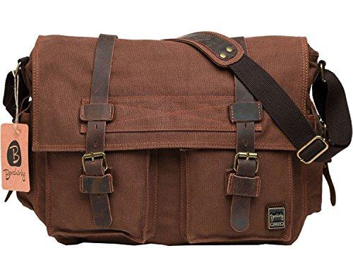 Berchirly Men Vintage Military Canvas Messenger Bag for 17.3inch ...